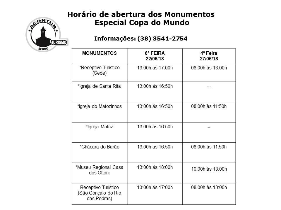 Horário de abertura dos Monumentos Copa